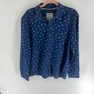 Fat Face Indigo Dye geometric button down shirt